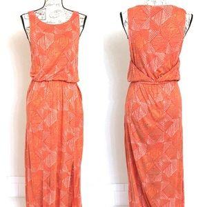 Lucky Brand Orange Batik Print  Maxi Dress